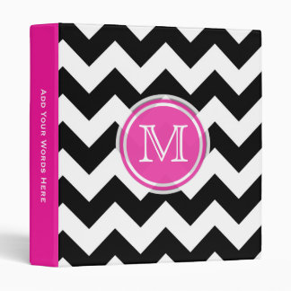 Monogram: Pink Black And White Chevron Binder