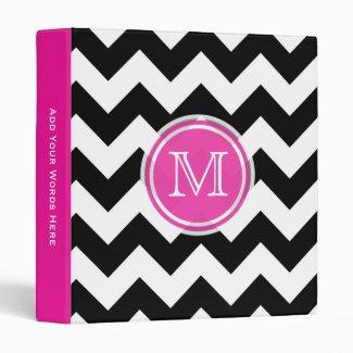 Monogram: Pink Black And White Chevron Binder