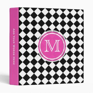 Monogram Pink Black And White Diamond Binder