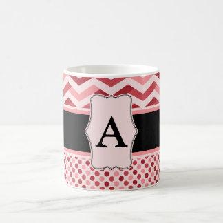 Monogram Pink, black chevron and polka dots Coffee Mug