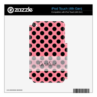Monogram Pink Black Cute Chic Polka Dot Pattern iPod Touch 4G Decals