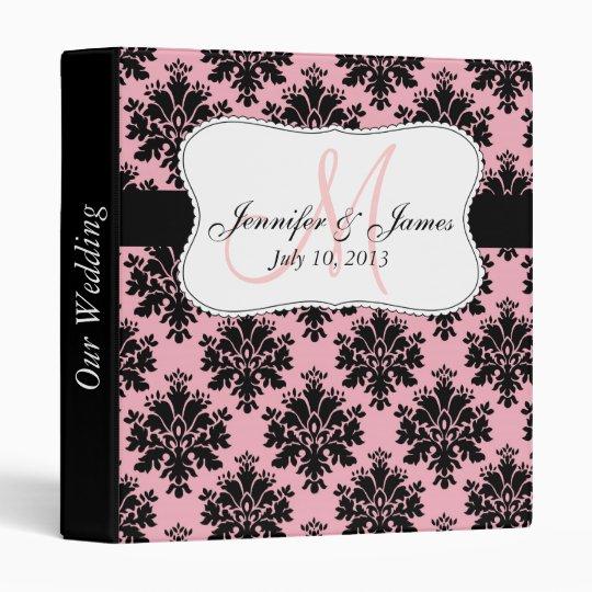 Monogram Pink Black Damask Wedding Planner Binders