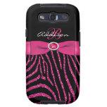 Monogram Pink, Black Glitter Zebra Galaxy S3 Samsung Galaxy SIII Cover