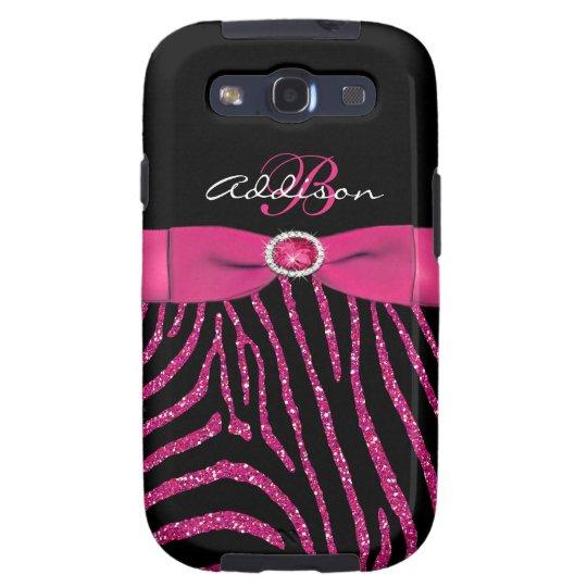 Monogram Pink, Black Glitter Zebra Galaxy S3 Samsung Galaxy SIII Case