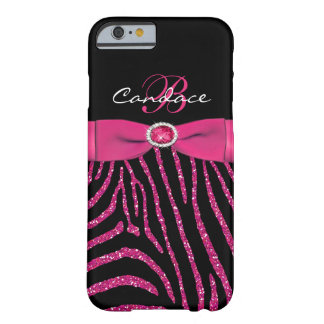 Monogram Pink, Black Glitter Zebra iPhone 6 case