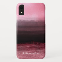 Monogram Pink & Black Ombre Foil Brush Strokes iPhone XR Case