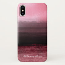 Monogram Pink & Black Ombre Foil Brush Strokes iPhone XS Case
