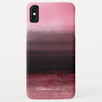 Monogram Pink & Black Ombre Foil Brush Strokes iPhone XS Max Case