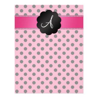 "Monogram pink black polka dots 8.5"" x 11"" flyer"