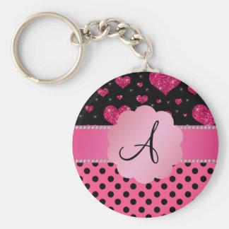Monogram pink black polka dots pink glitter hearts keychain