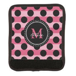 Monogram   Pink Black Polka Dots Striped Pattern Luggage Handle Wrap