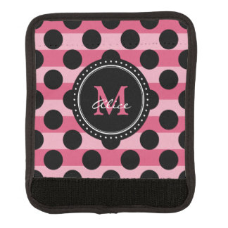 Monogram | Pink Black Polka Dots Striped Pattern Luggage Handle Wrap