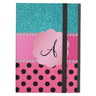 Monogram pink black polka dots turquoise glitter iPad folio cases