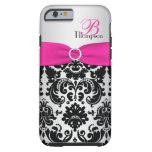 Monogram Pink, Black, Silver Damask iPhone 6 case