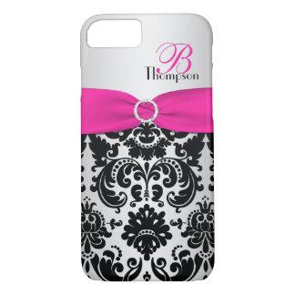 Monogram Pink, Black, Silver Damask iPhone 7 Case