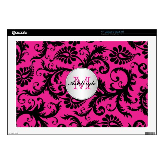 Monogram Pink, Black, Silver Damask Laptop Skin