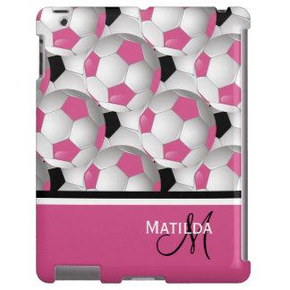 Monogram Pink Black Soccer Ball Pattern