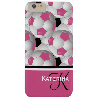 Monogram Pink Black Soccer Ball Pattern Barely There iPhone 6 Plus Case