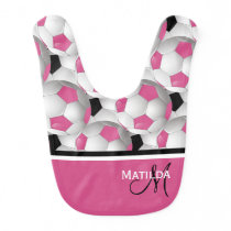 Monogram Pink Black Soccer Ball Pattern Bib