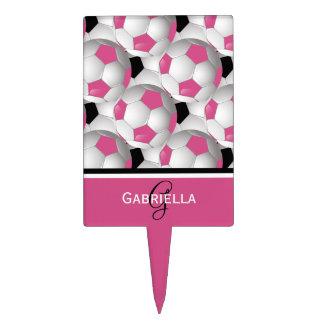Monogram Pink Black Soccer Ball Pattern Cake Topper