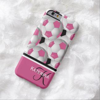 Monogram Pink Black Soccer Ball Pattern iPhone 6 Case