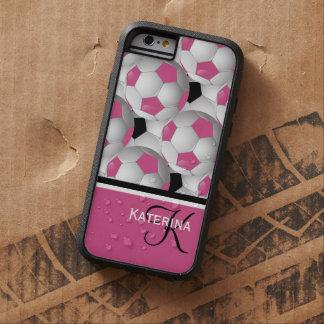 Monogram Pink Black Soccer Ball Pattern Tough Xtreme iPhone 6 Case