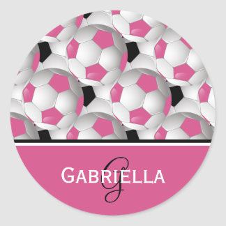 Monogram Pink Black Soccer Ball Pattern Classic Round Sticker