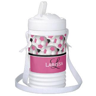 Monogram Pink Black Soccer Ball Pattern Igloo Beverage Cooler