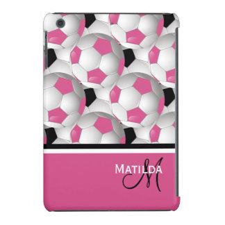 Monogram Pink Black Soccer Ball Pattern iPad Mini Retina Covers