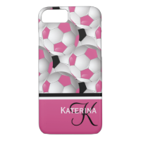 Monogram Pink Black Soccer Ball Pattern iPhone 7 Case