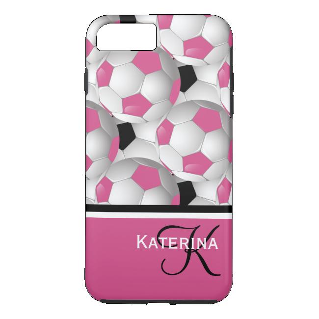 Monogram Pink Black Soccer Ball Pattern iPhone 7 Plus Case