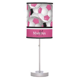 Monogram Pink Black Soccer Ball Pattern Desk Lamps