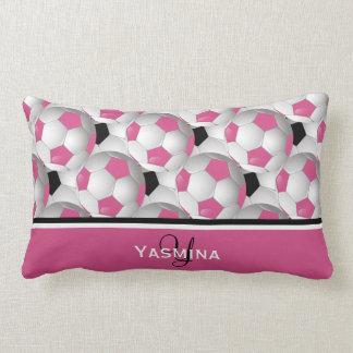 Monogram Pink Black Soccer Ball Pattern Lumbar Pillow