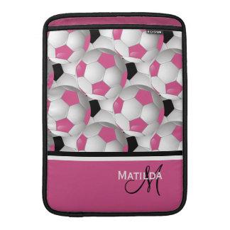 Monogram Pink Black Soccer Ball Pattern MacBook Air Sleeve