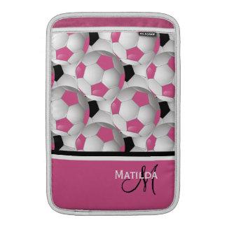 Monogram Pink Black Soccer Ball Pattern MacBook Sleeves