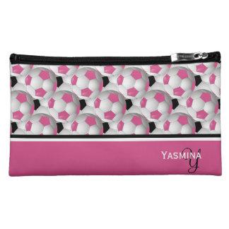 Monogram Pink Black Soccer Ball Pattern Makeup Bag