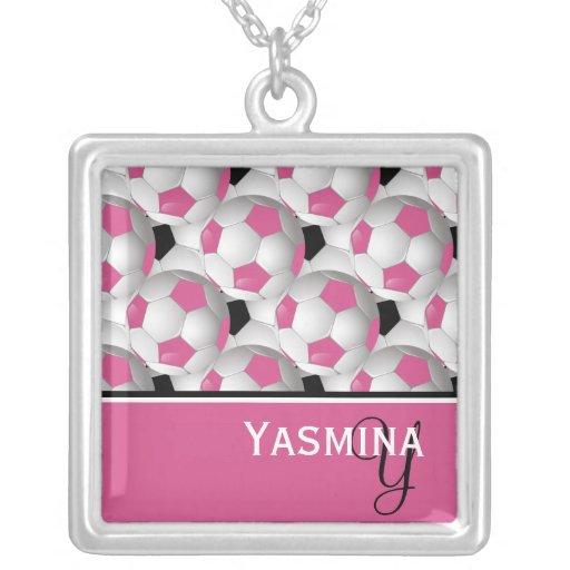 Monogram Pink Black Soccer Ball Pattern Necklaces