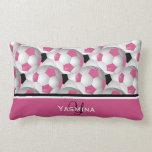 Monogram Pink Black Soccer Ball Pattern Pillow