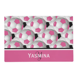 Monogram Pink Black Soccer Ball Pattern Placemat