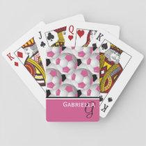 Monogram Pink Black Soccer Ball Pattern Playing Cards