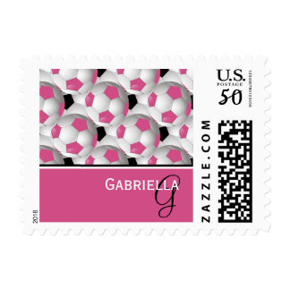 Monogram Pink Black Soccer Ball Pattern Postage