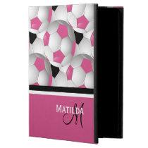 Monogram Pink Black Soccer Ball Pattern Powis iPad Air 2 Case