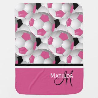 Monogram Pink Black Soccer Ball Pattern Receiving Blanket