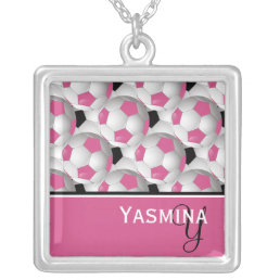 Monogram Pink Black Soccer Ball Pattern Silver Plated Necklace
