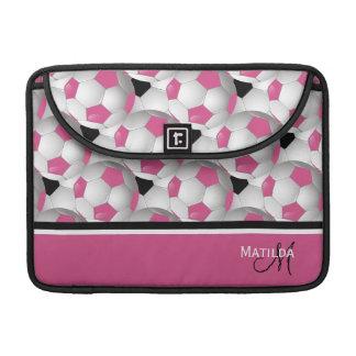 Monogram Pink Black Soccer Ball Pattern Sleeves For MacBook Pro