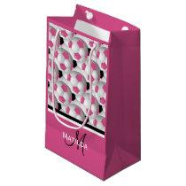 Monogram Pink Black Soccer Ball Pattern Small Gift Bag