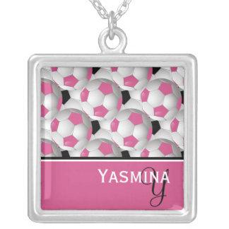 Monogram Pink Black Soccer Ball Pattern Square Pendant Necklace