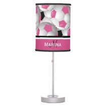 Monogram Pink Black Soccer Ball Pattern Table Lamp