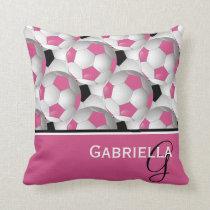 Monogram Pink Black Soccer Ball Pattern Throw Pillow