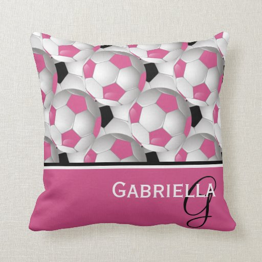 Monogram Pink Black Soccer Ball Pattern Throw Pillows